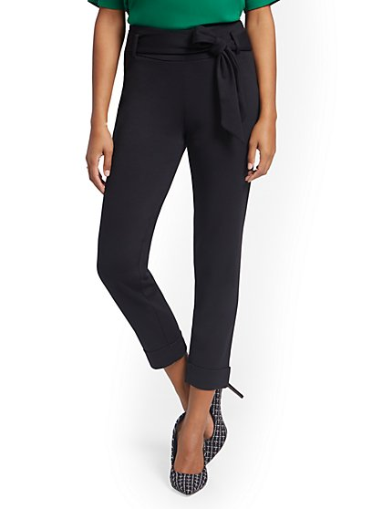 Bow-Accent Pull-On Ankle Pant - Superflex - New York & Company