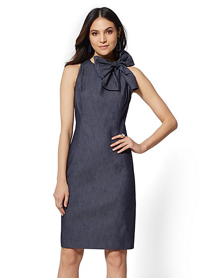 Bow-Accent Sheath Dress - New York & Company
