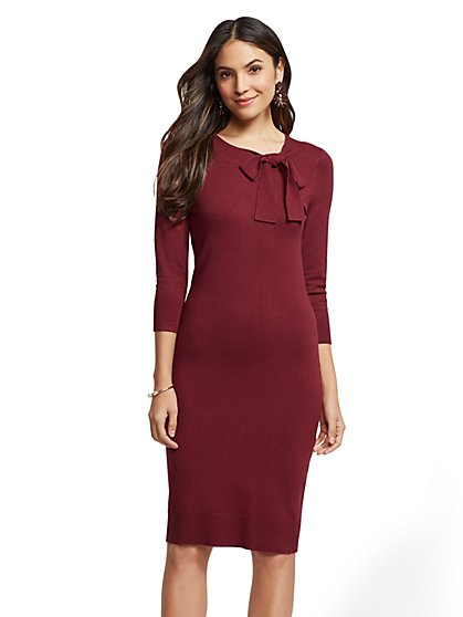 Bow-Accent Sheath Sweater Dress - New York & Company