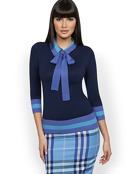 Bow-Accent Stripe Polo Sweater - New York & Company