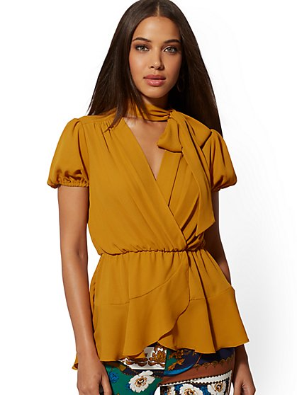 Bow-Accent Wrap Blouse - 7th Avenue - New York & Company