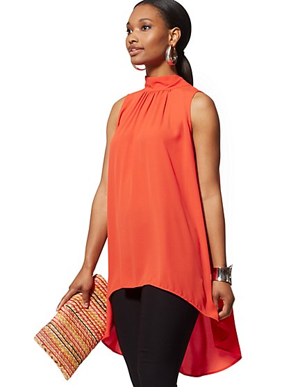 Bow-Back Hi-Lo Halter Blouse - New York & Company