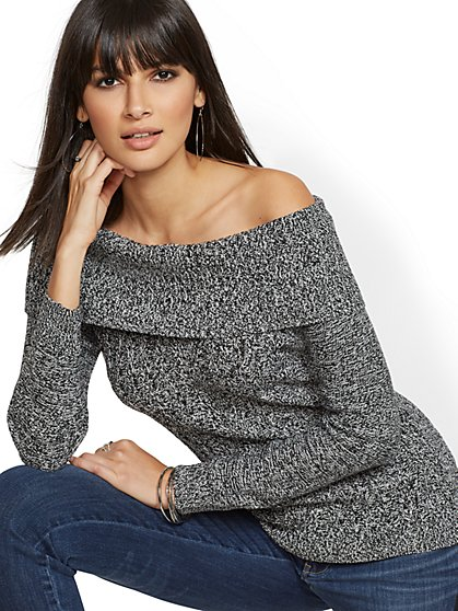 Bow-Back Off-The-Shoulder Sweater - New York & Company