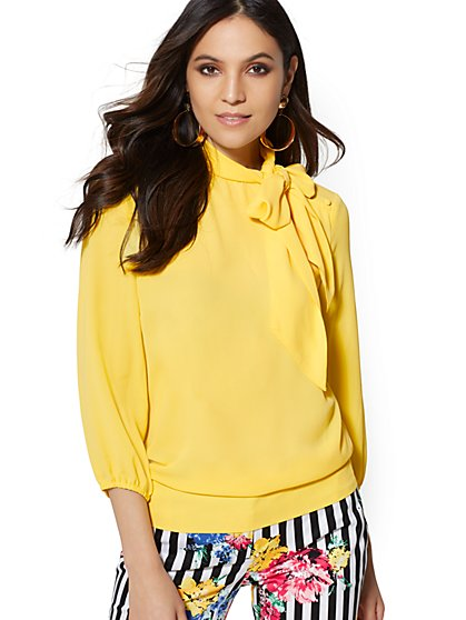 Bow & Button-Accent Blouse - 7th Avenue - New York & Company