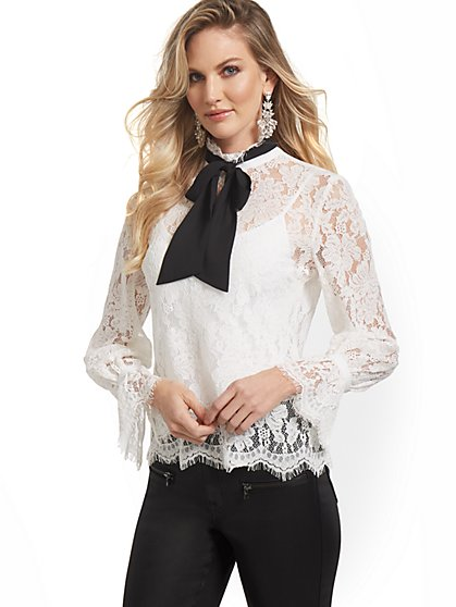 Bow Lace Top - New York & Company