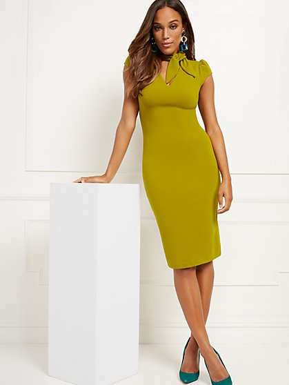 Bow-Neck Sheath Dress - Magic Crepe® - New York & Company