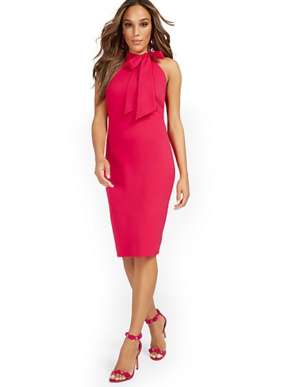Bow-Neck Sleeveless Sheath Dress - Magic Crepe® - New York & Company
