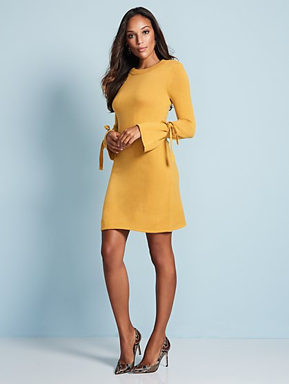 Bow-Sleeve Sweater Dress - New York & Company