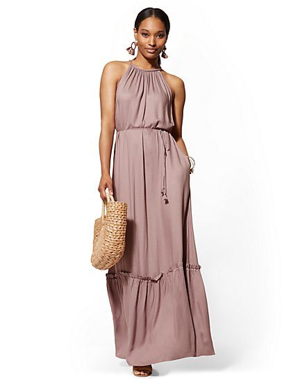 Braided-Strap Halter Maxi Dress - New York & Company