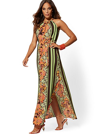 Braided-Trim Halter Maxi Dress - New York & Company