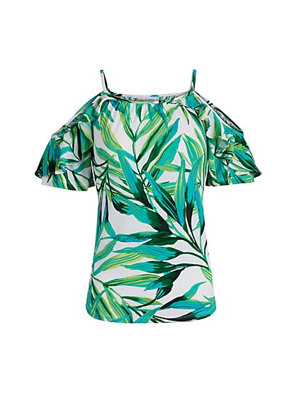 Breezy Palm Print Cold Shoulder Top - New York & Company