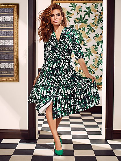 Brenda Palm-Print Dress - Eva Mendes Collection - New York & Company