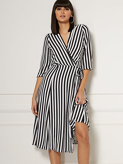 Brenda Stripe Wrap Maxi Dress - Eva Mendes Collection - New York & Company
