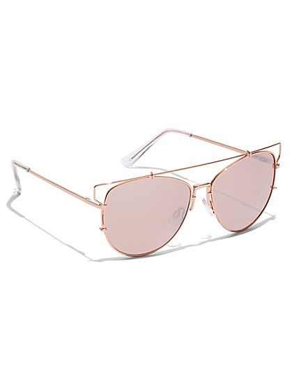 Brow-Bar Aviator Sunglasses - New York & Company