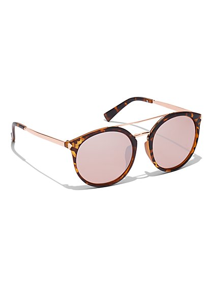 Brow-Bar Round Sunglasses - New York & Company