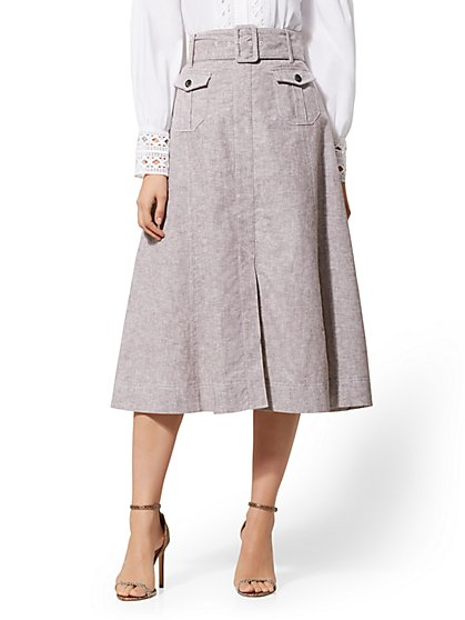 Brown Belted Cargo Skirt - City Stretch Linen Flex - New York & Company