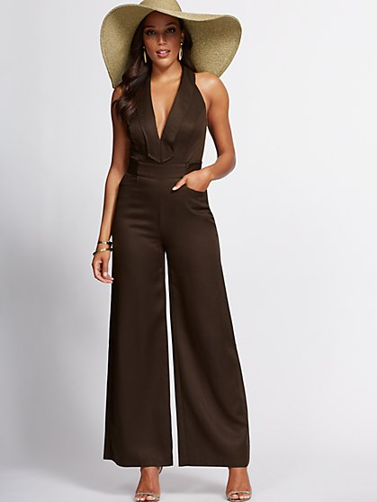 Brown Halter Jumpsuit - Gabrielle Union Collection - New York & Company