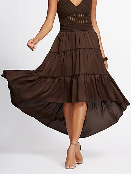 Brown Hi-Lo Tiered Maxi Skirt - Gabrielle Union Collection - New York & Company