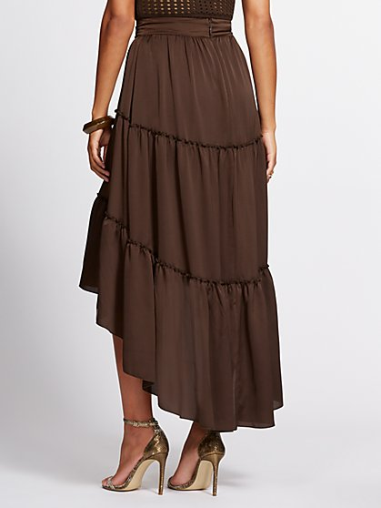 a919a58570 ... Brown Hi-Lo Tiered Maxi Skirt - Gabrielle Union Collection - New York &  Company