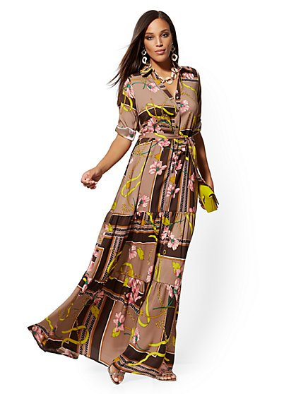 Brown Mixed-Print Maxi Shirtdress - New York & Company