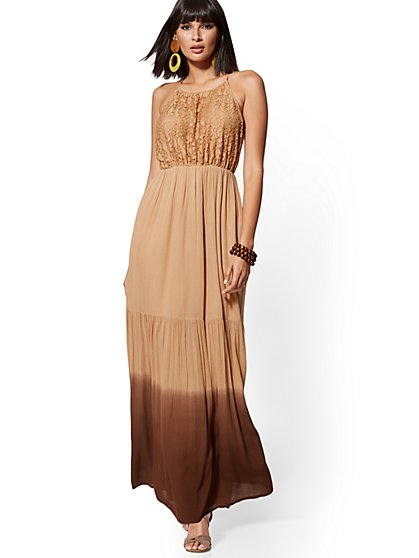 Brown Ombre Lace Halter Maxi Dress - New York & Company
