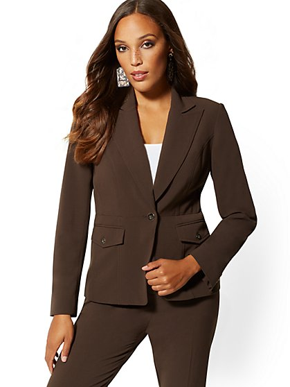 Brown One-Button Jacket - Double Stretch - 7th Avenue - New York & Company