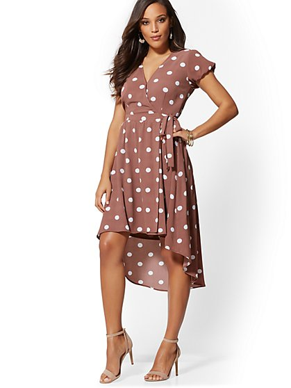 Brown Polka-Dot Wrap Dress - New York & Company