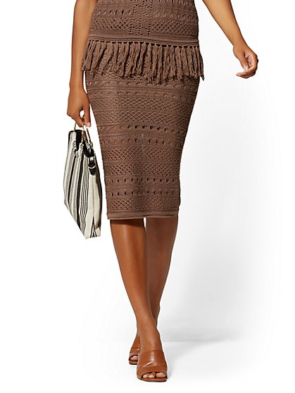 Brown Pull-On Sweater Pencil Skirt - New York & Company