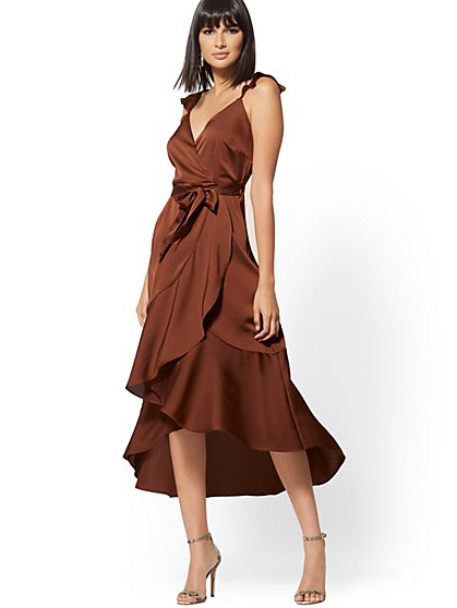 Brown Ruffle Wrap Dress - New York & Company