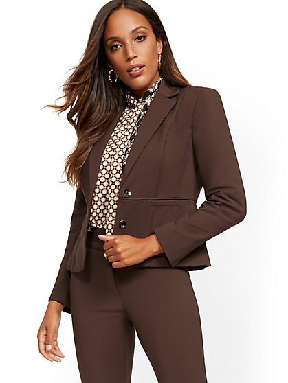 Brown Two-Button Jacket - All-Season Stretch - 7th Avenue - New York & Company