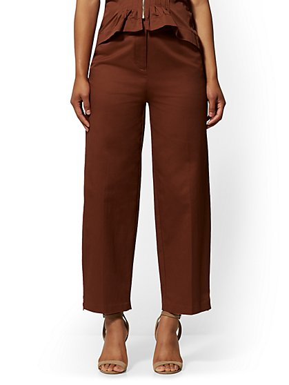 Brown Zip-Accent Wide-Leg Pant - 7th Avenue - New York & Company