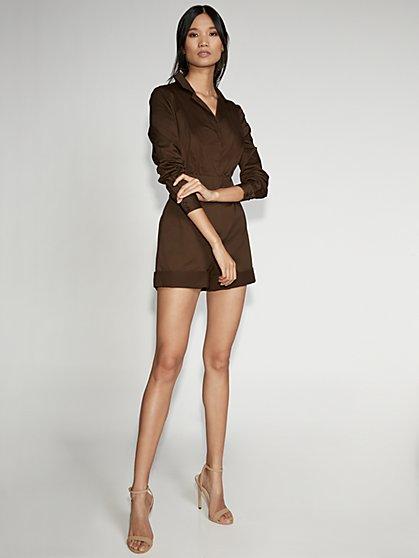 Brown Zip-Front Romper - Gabrielle Union Collection - New York & Company