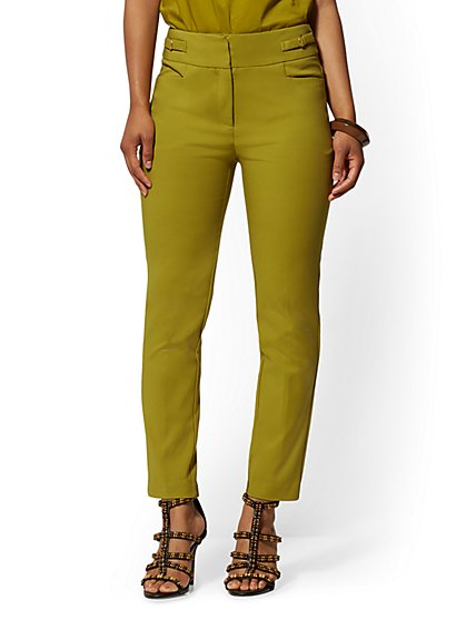 Buckle-Accent High-Waist Ankle Pant - All-Season Stretch - 7th Avenue - New York & Company
