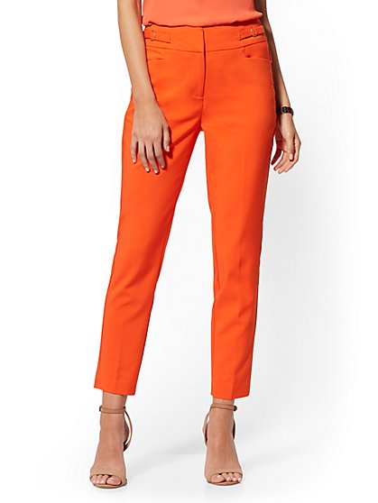 Buckle-Accent High-Waisted Ankle Pant - All-Season Stretch - 7th Avenue - New York & Company