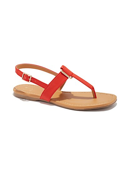 Buckle-Accent T-Strap Sandal - New York & Company