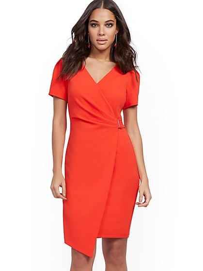 Buckle-Accent Wrap Sheath Dress - Magic Crepe® - New York & Company