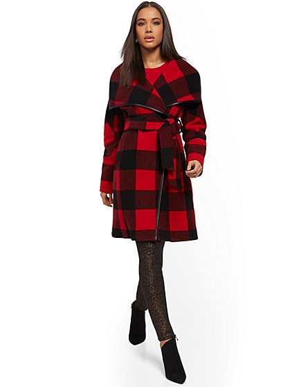 Buffalo-Check Wrap Coat - New York & Company