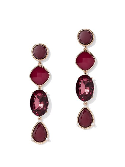 Burgundy Faux-Stone Linear Drop Earring - New York & Company