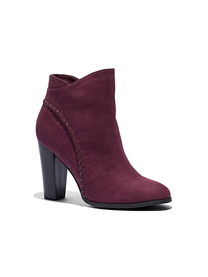 Burgundy Whipstitch Bootie - New York & Company