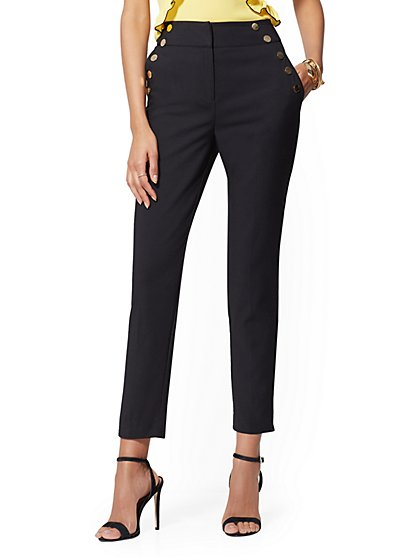 Button-Accent Ankle Pant - All-Season Stretch - 7th Avenue - New York & Company