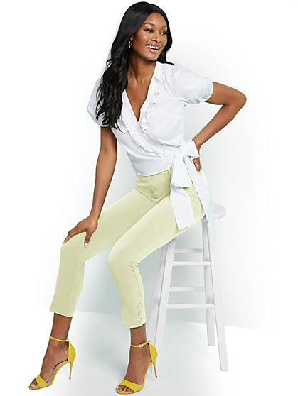 Button-Accent Ankle Pant - Modern Fit - Double Stretch - 7th Avenue - New York & Company