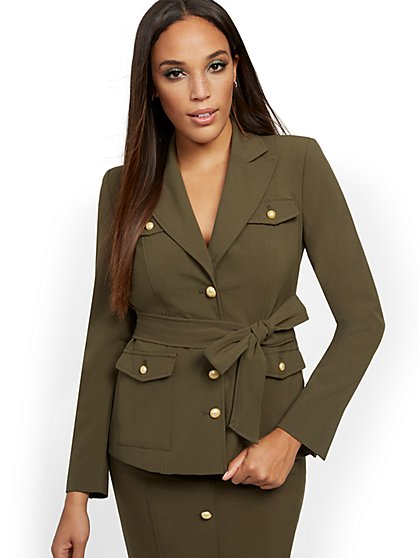 Button-Accent Belted Blazer - 7th Avenue - New York & Company