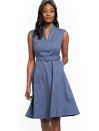 Button-Accent Belted Fit and Flare Dress - New York & Company