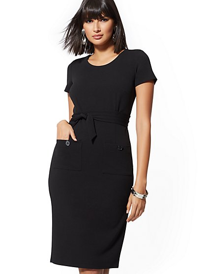 Button-Accent Belted Sheath Dress - Magic Crepe - New York & Company