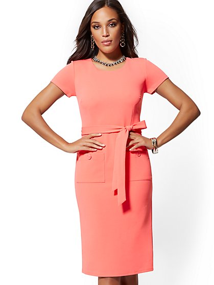 83b01f34eb8 Button-Accent Belted Sheath Dress - Magic Crepe - New York   Company ...
