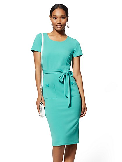 22863f341b Button-Accent Belted Sheath Dress - Magic Crepe - New York   Company ...
