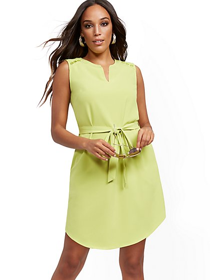 Button-Accent Belted Shirtdress - New York & Company