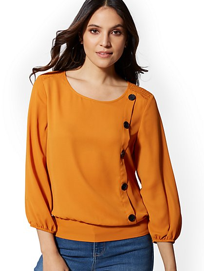 Button-Accent Blouse - New York & Company