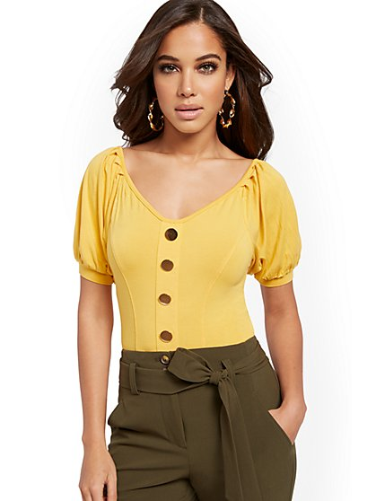 Button-Accent Bodysuit - New York & Company