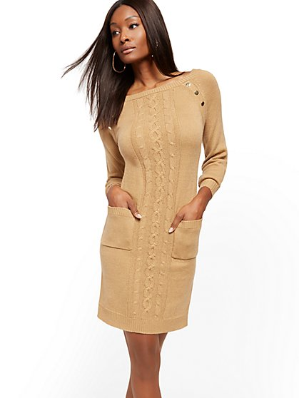 Button-Accent Cable-Knit Sheath Sweater Dress - New York & Company